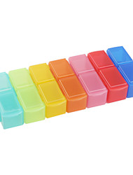 Plastic Storage Box for Pills and Small Tools (Rainbow Color)
