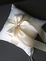 Wedding Ring Pillow In Criss-cross Satin Sash And Bow