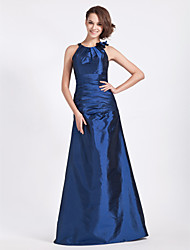 Bridesmaid Dress Floor Length Taffeta A Line Jewel Dress