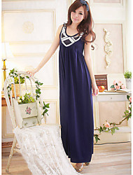 Polyester Scoop Neck Maxi-Kleid