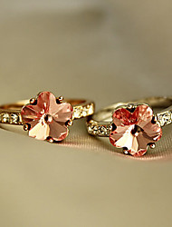 Crystal Pink Cute Flower Ring