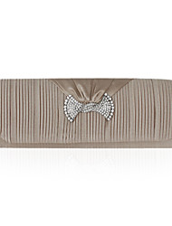 Pleated Satin With Crystal Clutch/Evening Bag (More Colors)