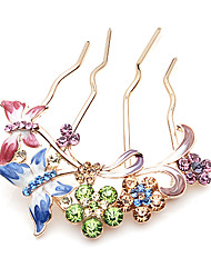 Flowers and Butterfly Crystal Clasp Tiara Comb Hair Clip