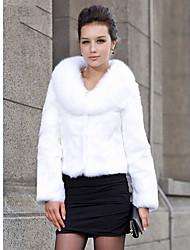mantón de cuello de pieles de conejo de manga larga por la noche / boda de chaqueta (más colores)