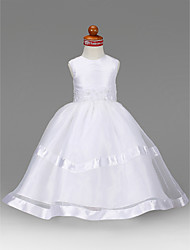 LAN TING BRIDE A-line Princess Floor-length Flower Girl Dress - Organza Taffeta Jewel with Beading Appliques Draping
