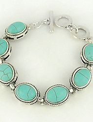 Turquoise Oval And Silver Alloy Toggle Bracelet