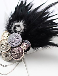 Coins Feather Chain Brooch