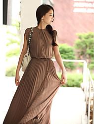 maxi vestido de chiffon de garganta (mais cores)