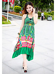 Cotton Halter Maxi Dress In Green