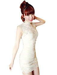 Sheath/Column High-neck With Lace Mini/Dress