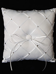 White Satin Ring Pillow With Rhinestones And Bow