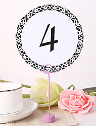 Round Table Number Card - Black Elegant Flower
