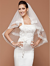 One-tier Fingertip Wedding Veil With Lace Applique Edge (More Colors Available)