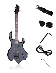 Flame Custom Heavy Metal Electric Guitar with Accessories Black
