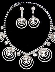 Silber Strass zweiteilige Multiple-Ring-Design für Damen Hochzeit Schmuck-Set (45 cm)