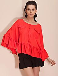 TS Bat Sleeve Ruffle Finish Blouse Shirt (More Colors)
