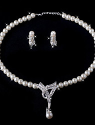 Two Piece Gorgeous Ivory Pearl Ladies Necklace and Earrings Jewelry Set (38 cm)
