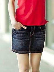 Navy Color Jean Skirt