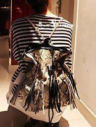 Crocodile Stripe Tassel Bucket Leather Chain Cross-body Bag