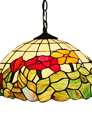 Tiffany Pendant Light with 2 Light in Floral Leaf Patterned Shade