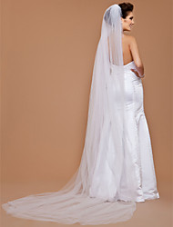 Wedding Veil One-tier Cathedral Veils Cut Edge 118.11 in (300cm) Tulle White White / IvoryA-line, Ball Gown, Princess, Sheath/ Column,