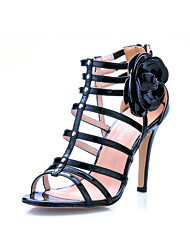 Patent Leather With Flower Sandals