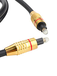 Optical Fiber Digital Audio Toslink Male to Male Cable (Golden Plug, 3 Meters)