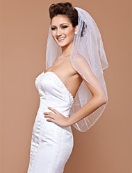 Two-tier Elbow Veil With Beaded Edge
