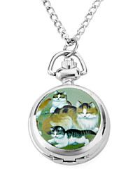Women's Alloy Analog Quartz Necklace Watches with Cats (Silver) Cool Watches Unique Watches