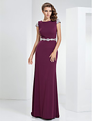 Sheath/Column Bateau Sweep/Brush Train Linen Evening/Prom Dress
