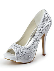 Women's Shoes Bejeweled Satin Stiletto Heel Platform Peep Toe Heels Wedding Shoes More Colors Available