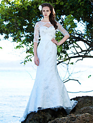 Lan Ting Trumpet/Mermaid Plus Sizes Wedding Dress - Ivory Court Train Jewel Lace