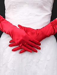 Satin Bridal Fingertips Elbow Length Gloves With Pearls