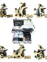 6 Kit de pistolet de tatouage de cuivre avec une alimentation conduit