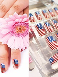 American Flag Nail Art Rhinestone With Nail Glue
