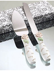 Serving Sets Wedding Cake Knife Elegant Rose Design Resin Handle  Cake Serving Set