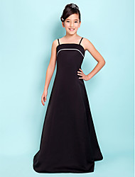 Floor-length Satin Junior Bridesmaid Dress - Black A-line / Princess Spaghetti Straps / Square