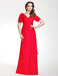 Lanting Floor-length Chiffon Bridesmaid Dress - Ruby Plus Sizes / Petite Sheath/Column V-neck
