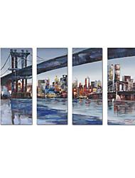 """Масляная картина ручной работы """"Мост"""" из 4 полотен"""