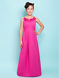 Floor-length Satin Junior Bridesmaid Dress A-line / Princess Spaghetti Straps Empire with Draping / Flower(s) / Criss Cross