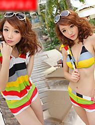 patrón de rayas tres piezas del bikini natación conjunto
