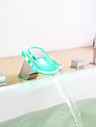 changement de couleur LED robinet de baignoire cascade hydroélectrique avec douche à main - fini chrome