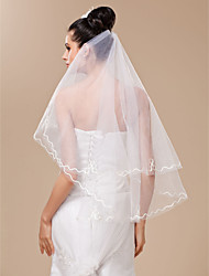 Wedding Veil One-tier Fingertip Veils Cut Edge 47.24 in (120cm) Tulle White White / IvoryA-line, Ball Gown, Princess, Sheath/ Column,