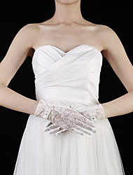 Wrist Length Fingertips Glove - Cotton/Lace Bridal Gloves