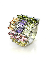 Gorgeous Colourful Cubic Zirconia Platinum Plated Irregular Shape Fashion Ring