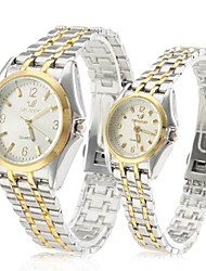 Pair of Alloy Analog Quartz Couple's Watches with Silver Face (Silver and Gold) Cool Watches Unique Watches