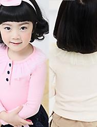Girls Yarn Collar 3 Button Long Sleeve T-shirt