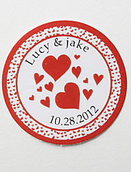 Personalized Round Favor Stickers – Red Hert (Set of 36)