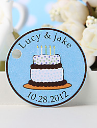 Personalized Favor Tag - White Birthday Cake (Set of 36)