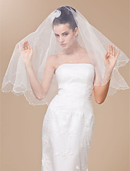 Wedding Veil One-tier Fingertip Veils Scalloped Edge Pearl Trim Edge 47.24 in (120cm) Tulle WhiteA-line, Ball Gown, Princess, Sheath/